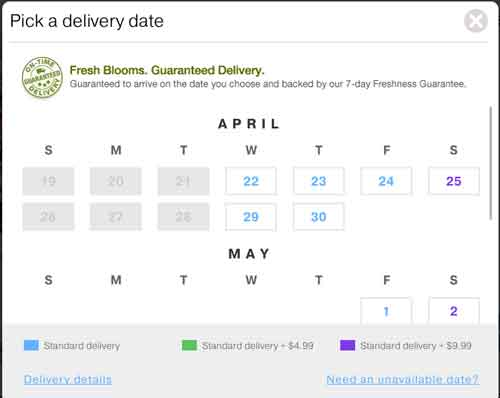 pro flowers calendar