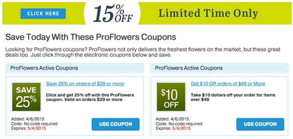 Proflowers discount coupon code