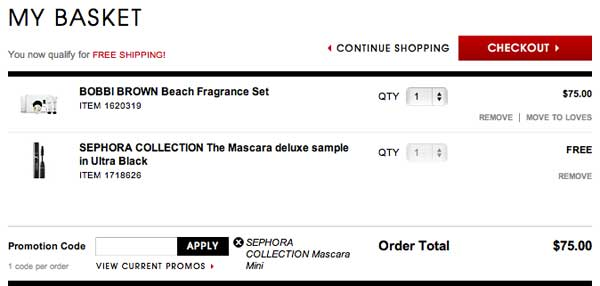 Apply sephora promo code